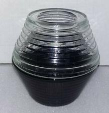 Vintage Fairy Lite Black Glass Bottom Clear Glass Top 2 Piece Euc