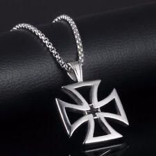 Croix Pour Homme Médiéval gothique En Argent avec Chaine Pendentif Mode Homme