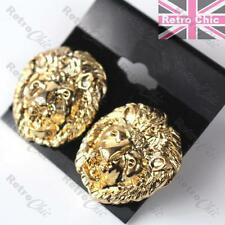 BIG ROARING LION EARRINGS studs GOLD FASHION door knocker RETRO animal head STUD