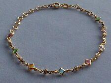 """& Clear Crystals -Adjusts 8""""-10"""" 10"""" Gold Filled Ankle Bracelet-Multi Color"""