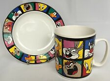 Looney Tunes Lunch Plate And Jumbo Coffee Mug Tweety Sylvester Bugs Bunny Toons