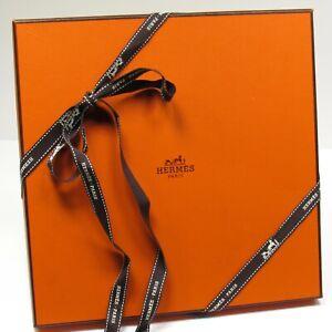 "HERMES Gift Box Empty Orange Approx. Dimensions  9 1/2"" x 9 1/2"" x 7/8"""