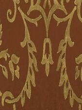 Deep Red Background with a Golden Brown Damask Wallpaper CH28305