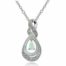 Sterlingsilber Äthiopischer Opal und Weiß Topas Infinity Tropfen Halskette