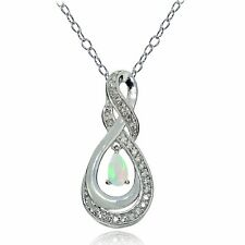 Sterling Silver Ethiopian Opal and White Topaz Infinity Twist Teardrop Necklace