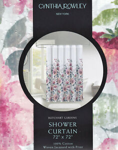 Cynthia Rowley 100% Cotton Shower Curtain Dotted Swiss Butchart Gardens Floral