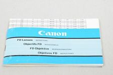 Canon Fd Lentilles 38 pages 15x8cm