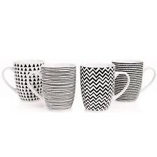 Set of 4 Black & White Geo Sketch Porcelain Mug Set Microwave Dishwasher Safe