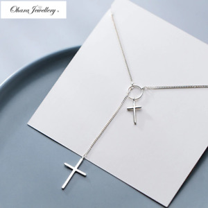925 Solid Sterling Silver Cross Crucifix Long Sweater Pendant Necklace Jewellery