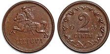 LITUANIE 2 CENTAI 1936 KM#80 XF++