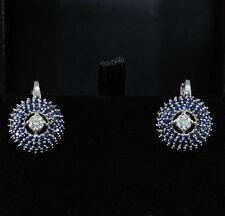 Sapphire White Gold Vintage Fine Earrings