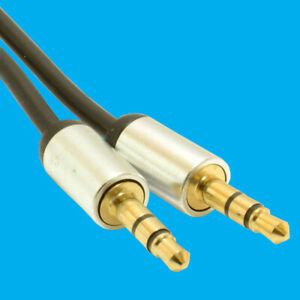 Aluminium PRO 3.5mm Jack to Jack Stereo Audio Cable Lead GOLD 2m 2 Metres Aux