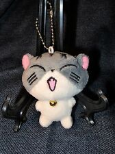 "Cute 3"" Laughing Plush Chinese Gray Cat Good Luck Charm Keychain New"
