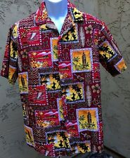 Kalena Fashions Red Camp Shirt Old Hawaiian Aloha Theme Button Front Large L 46""