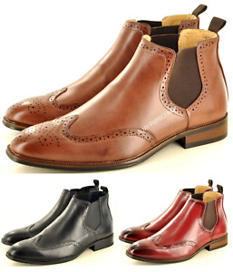 Mens Chelsea Boots Brogue Pointed Toe Italian Style Leather Lined  UK Sizes 7-12