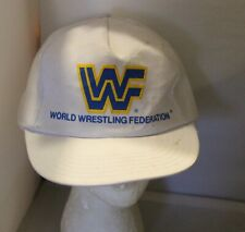 Rare Vintage WWF Snapback Hat Cap  -  White  - USA MADE -