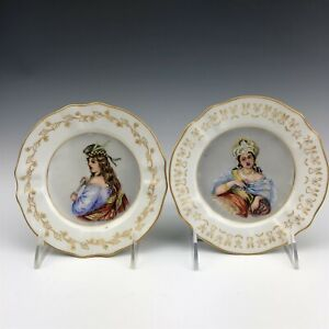 Pr Antique Martial Redon MR Limoges France Painted Maiden Porcelain Plates LHB