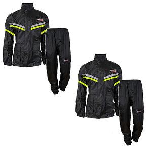Giacca completo Jacket Antipioggia SPARK Nera FLUO Antivento con pantalone