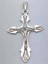 Pure 925 Sterling Silver Christian Jesus Christ Catholic Crucifix Cross Pendant