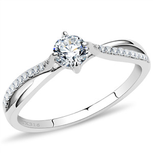 Ladies .50ct ring stainless steel cz cubic zirconia accents 1/2 carat size n 7