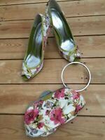 KAREN MILLEN UK 6 Multi Floral Print Leather Satin Peptoe Shoes Heels & Bag 39