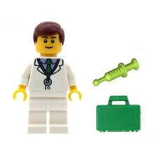 LEGO Male Nurse Doctor Minifigure with Case & Syringe NEW Town City Hospital