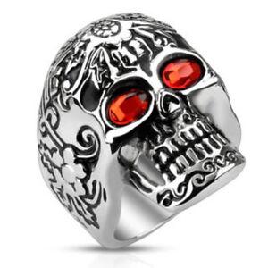 Day of The Dead Skull Cast Ring CZ Red Gemmed Eyes Stainless Steel Finger(FL326)