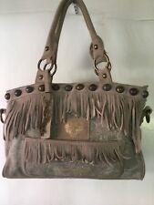 Ed Hardy Satchel Suede Canvas Studded Fringe Handbag