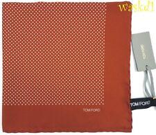 TOM FORD silk Pochette terracotta TINY POLKA DOTS Pocket Square NWT Authentic!