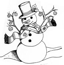 Unmounted Rubber Stamps, Christmas Snowman w/ Ornaments, Snowman Stamps, Snowmen