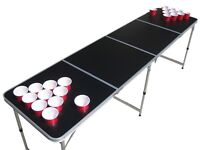 Portable Blank Black customizable Beer Pong Table  with holes.
