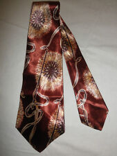 VINTAGE 40s/50s SWING NECK TIE RUST BROWN ABSTRACT FLORAL DECO by ARROW