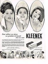 PUBLICITE ADVERTISING  1963   KLEENEX  mouchoirs tissus cellulose