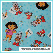BonEful Fabric FQ Cotton VTG Dora Explorer Boots Monkey School Letter Number OOP
