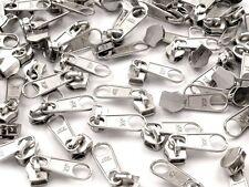 10 Reißverschluss Zipper Schieber für 5mm Spiral Endlosreißverschluss, silber