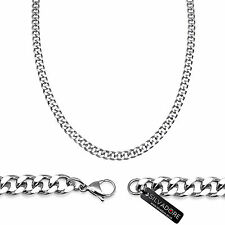 24'' Silvadore 4mm CURB Silver Stainless Steel Chain Necklace Men + VELVET POUCH