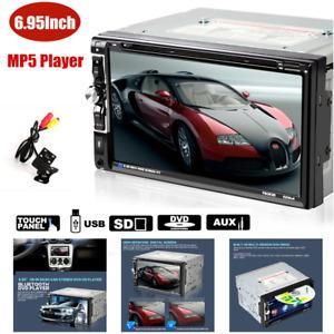 "6.95"" Car Touch Screen MP5 DVD Player Radio Stereo USB/TF/BT w/Camera Universal"