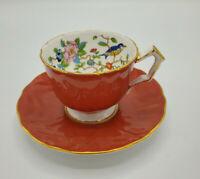 Vintage Aynsley Pembroke 2902 Teacup & Saucer Red Blue Bird Made in England