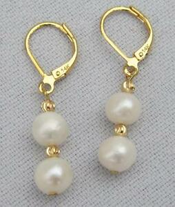 Excellent  AAA++ Grade White Akoya Pearl Dangle Earring 14k