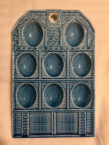 Vintage Ceramic Deviled Egg Plate Tray Decorative Wall Hanging Japan Blue 8 Eggs