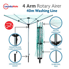 Rotary Airer 4 Arm Clothes Garden Washing Line Dryer 40M Folding Outdoor Spike
