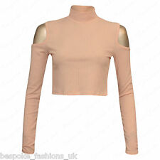 Ladies Womens Long Sleeve Shoulder Cut out Ribbed Polo Turtle Neck Crop Top 8-14 Nude Ml 12-14