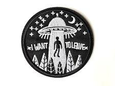 """Patch """"I want to leave"""" UFO Alien - Aufnäher Flicken zum Aufbügeln od. Aufnähen"""