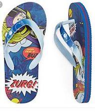 Disney BUZZ LIGHTYEAR Toy Story Toddler Boys Blue Flip Flops Sizes 11/12 Sandals