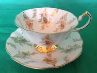 CUP & SAUCER BONE CHINA BY QUEEN ANNE GOLD CHINTZ FLOWERS LEAVES ON WHITE