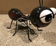 Brown Metal Art Big Head Ant Table Sculpture or Wall Hanging Whimsical Spring