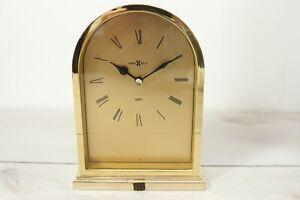 Vintage Howard Miller Quartz Brass Mantel Desk Clock Japan Martin Marietta Award