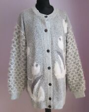 VTG Ladies PEOEHA Pale Grey/White Sparkly Lined Acrylic Mix Cardigan Sze XL(54D)