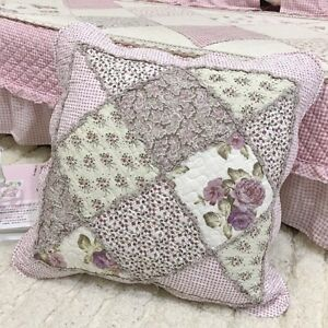 Shabby Embroidered Quilted Cotton Cushion Cover pillow case patch work Vintage