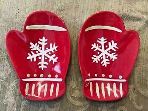 "NWOB HALLMARK MITTEN SNOWFLAKE CANDY/SERVING DISHES PAIR (2) 8"" Christmas"